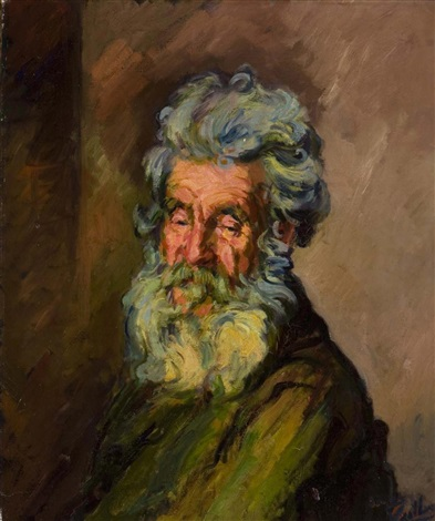 portrait of an old man by jacques gaston emile vaillant