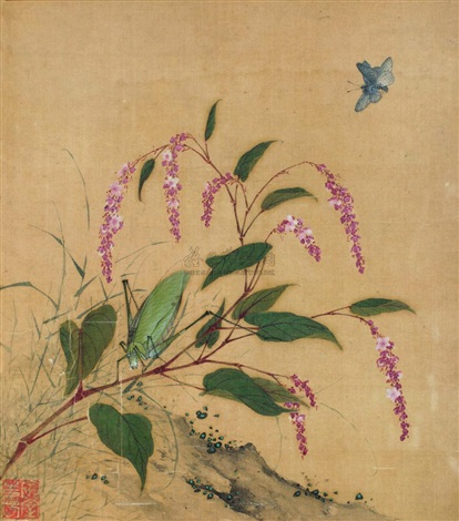 butterfly and flowers by wang guxiang