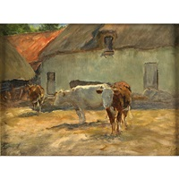 a barnyard with cattle by william henry howe