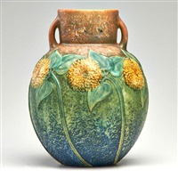 sunflower two-handled vase by roseville