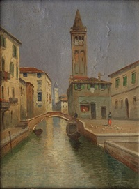 view of venetian canal by r. valentini