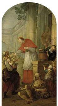 saint carlo borromeo giving alms to the poor by pierre louis dumesnil