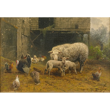 sheep and chicken in a barnyard by hermann herzog