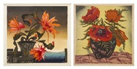 flowers in a vase and poppies (two works) by hugo noske