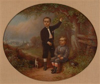 young boys in orchard w/dog by george w. waters