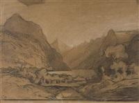 blick auf brunnen und den vierwaldstättersee (+ 2 others; 3 works) by adolf (johann) staebli