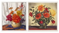 vase of roses and flowers in a gold vase (two works) by hugo noske