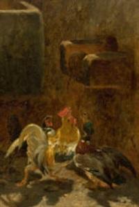 blick in eine hühnerstall by philibert-leon couturier