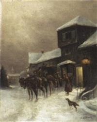 ankunft im gasthaus by julius von kollmann