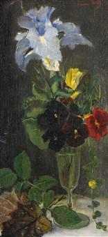 stilleben med iris, penseer och gul ros by emma (helfrid charlotta) toll