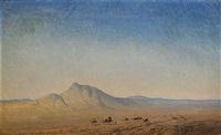 ökenlandskap med kamelkaravan by henrik august ankarcrona