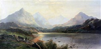 a pool of arrenig back (+ early morning, llyn y foel, north wales; pair) by charles leslie