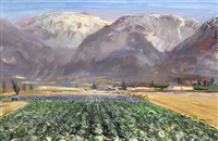 farm with mountain peaks in the distance by andrew winter