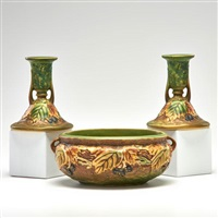 blackberry low bowl and pair of candlesticks by roseville