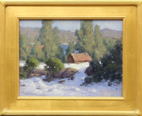 winter snow scene with cabin by a lake by joseph aaron