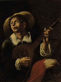 a man playing the lute by angelo caroselli