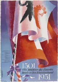 450 jahrfeier des eintritts basel in den schweizerbund (poster) by fritz buhler