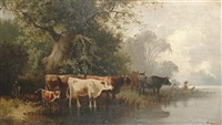cattle watering by j. jean