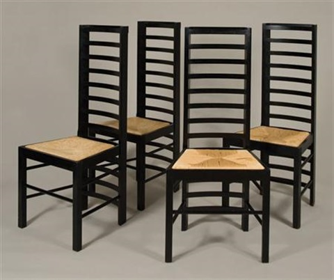 Set Of Four Willow Chairs By Charles Rennie Mackintosh