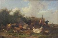 barnyard scene with chickens by cornelius van lemputten