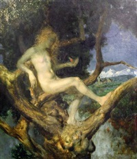 nymph in a tree by theodor baierl