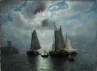 segelbåtar i månsken by jacob jacobs