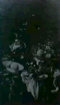 stilleben mit fruchten und prunkgefassen auf einer     tischplatte von dunkelrotem samtstoff und weissem......... by arnoldus bloemers