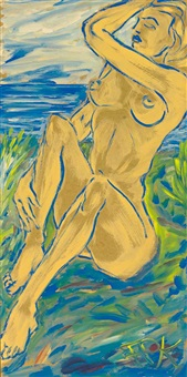 sunbathing girl. am ufer eines gewässers sitzender frauenakt by felix samuel pfefferkorn
