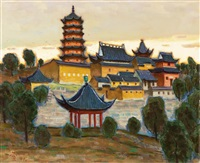 twilight jinshan buddhist temple by xu junxuan