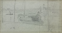 study of a man in his boat by camille pissarro