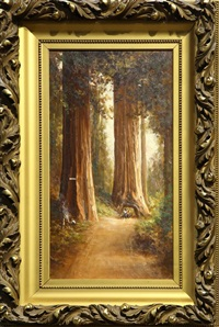 figures traveling through the redwoods by thomas virgil troyon hill