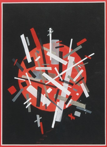 abstrakte komposition mit rotem kreis auf schwarzem hintergrund by nadia khodasevich leger