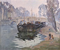 les peniches (canal boats) by paul jean anderbouhr