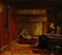 allmogeinteriör med sovande kvinna vid vagga by ferdinand fagerlin