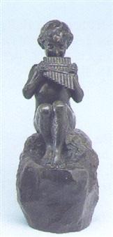 syrinx blasender fau, auf einem felssockel sitzend by jean-marie camus