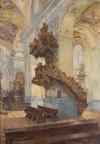 blick in das innere der abteikirche von amorbach by jakob fischer-rhein