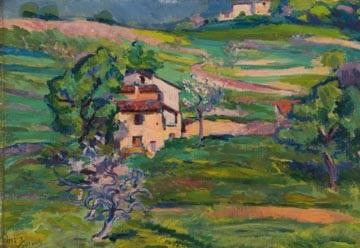 a french landscape by jacques gaston emile vaillant