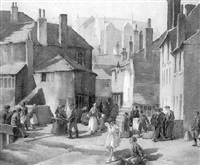 busy street scene, st. ives by grainger smith