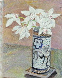 still life with flowers in a vase by everett gee jackson