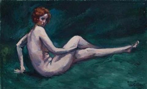 reclining nude on the grass by jacques gaston emile vaillant