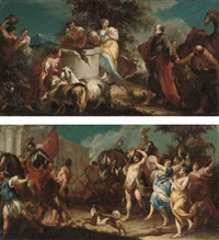 rebecca at the well (+ the triumph of david; pair) by francesco migliori