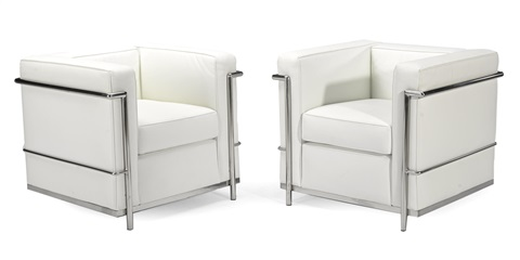 grand comfort armchairs pair by le corbusier
