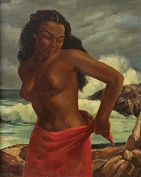polynesian beauty on the shore by ralph tyree