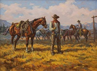 smoking cowboy and horse by walt la rue