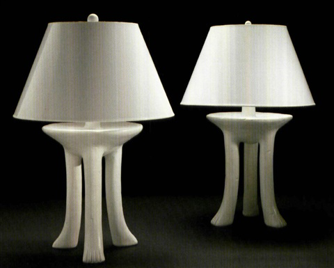 Pair of three leg african table lamps model no101 c by john pair of three leg african table lamps model no101 c by aloadofball Images