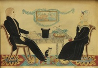 parlor scene with seated husband and wife by joseph h. davis