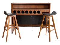 bar avec deux tabourets (set of 3) by erik buck and johannes andersen