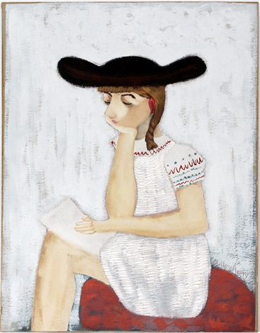 lady in brown hat by milton avery