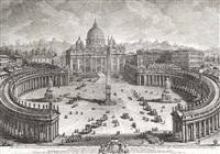 drei ansichten von rom: piazza san pietro, basilica nordseite und basilica interieur by giuseppe vasi