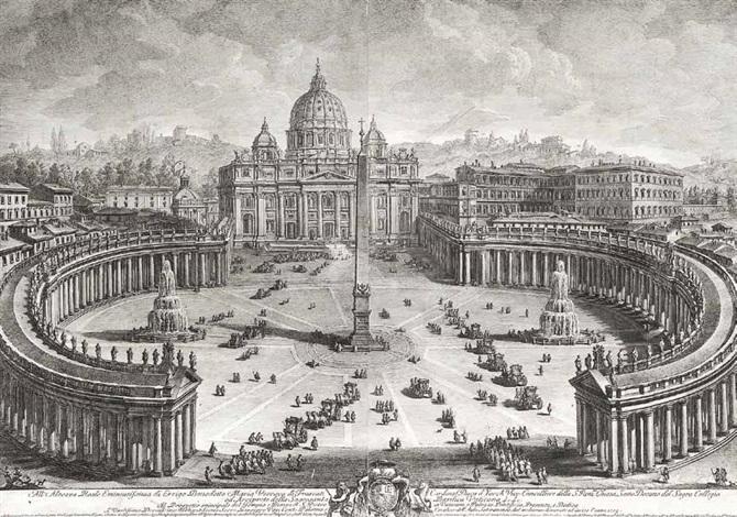 drei ansichten von rom piazza san pietro basilica nordseite und basilica interieur by giuseppe vasi